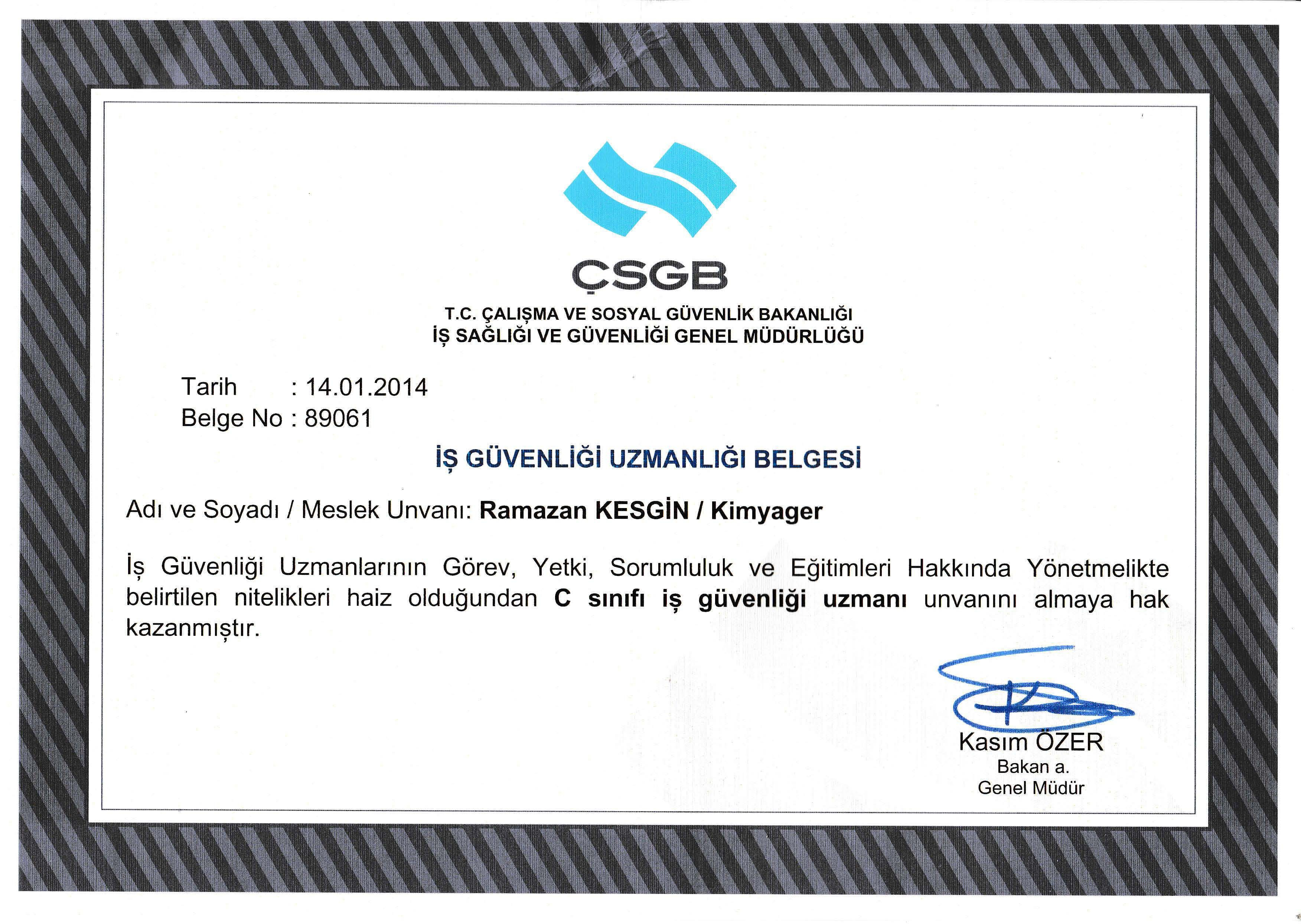 İş güvenliği uzmanı belgesi